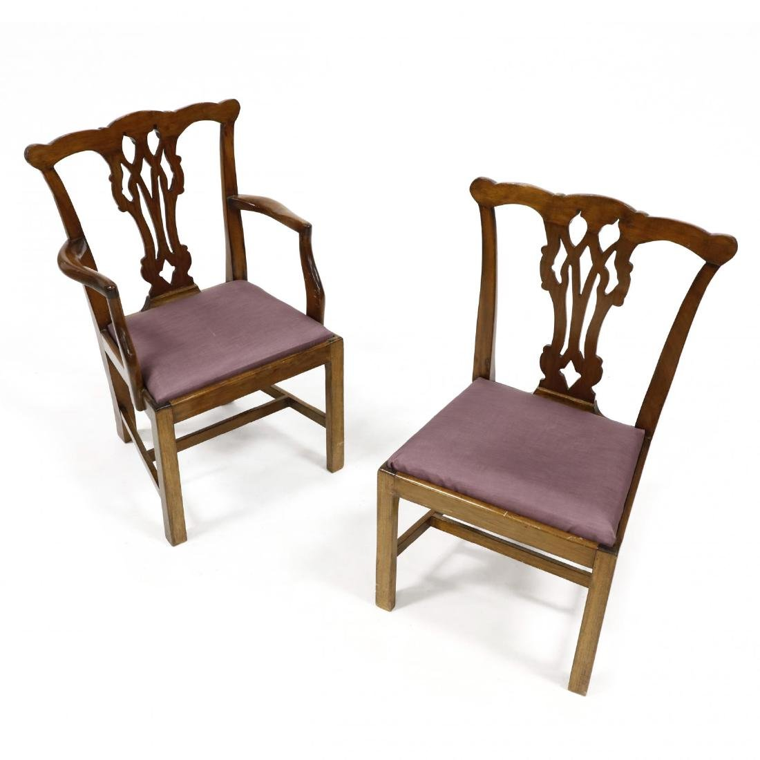 Pair of Chippendale Style Mahogany Child's Chairs - 2