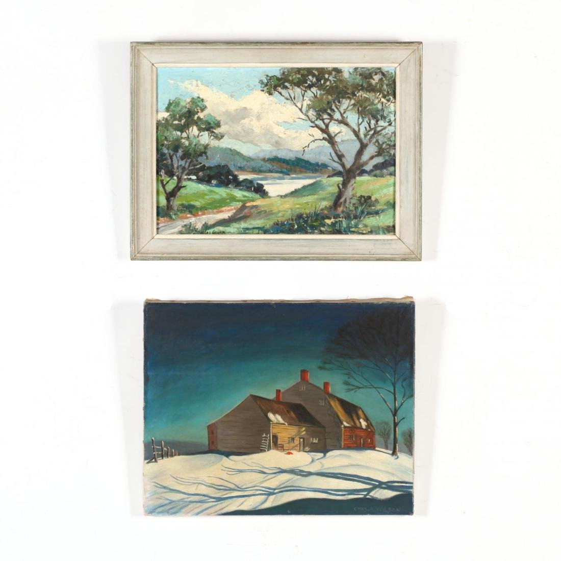 American School (20th C), Two Small Oil Landscapes
