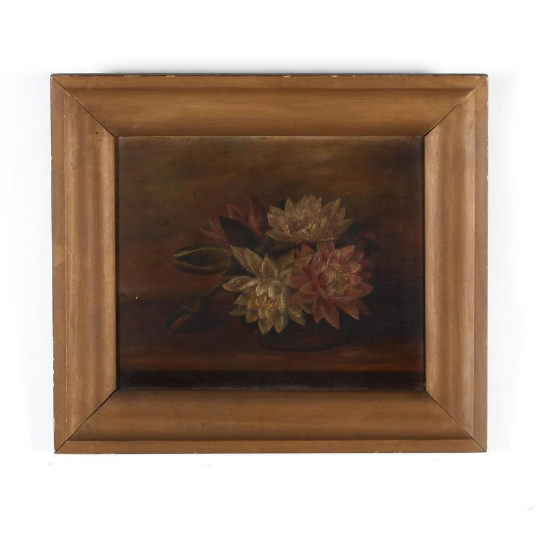 An Antique Still Life Painting of Water Lilies