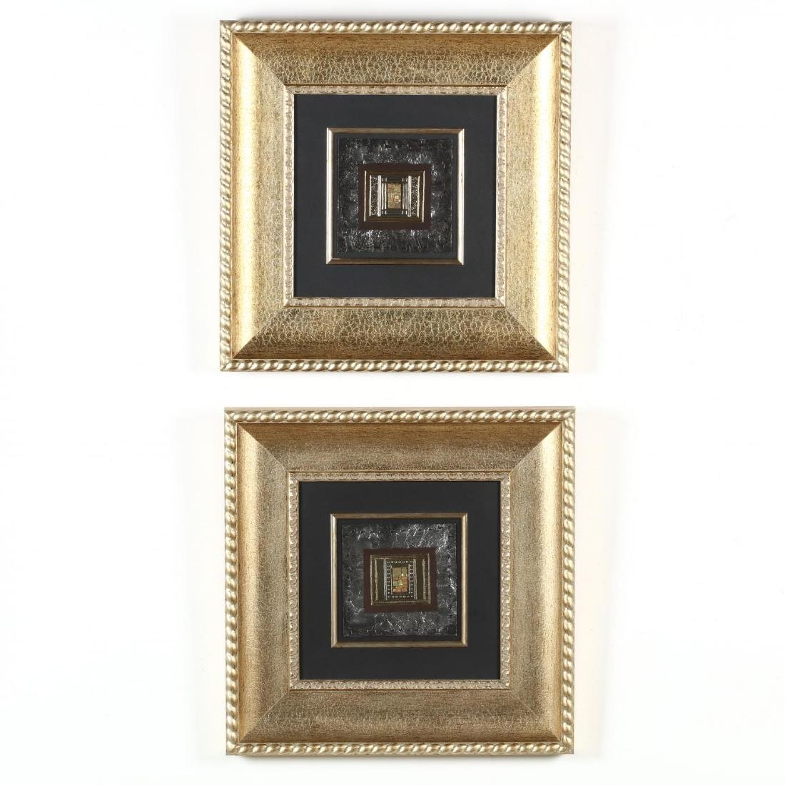 Kate Weston (TX), Pair of Framed Metal Collages