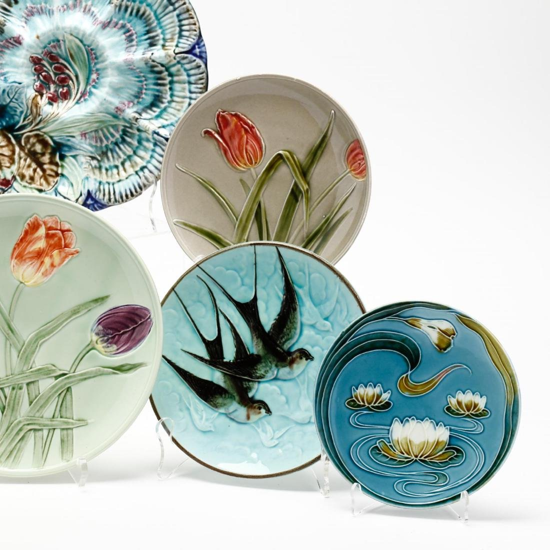 Eight Majolica Plates - 3