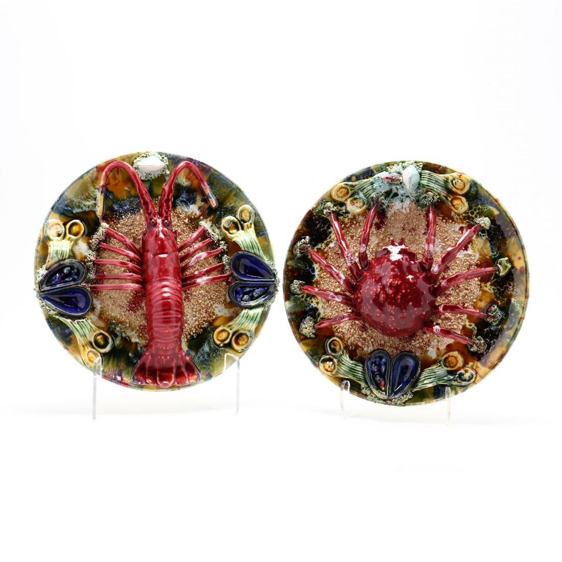 A Pair of Palissy Ware Style Plaques