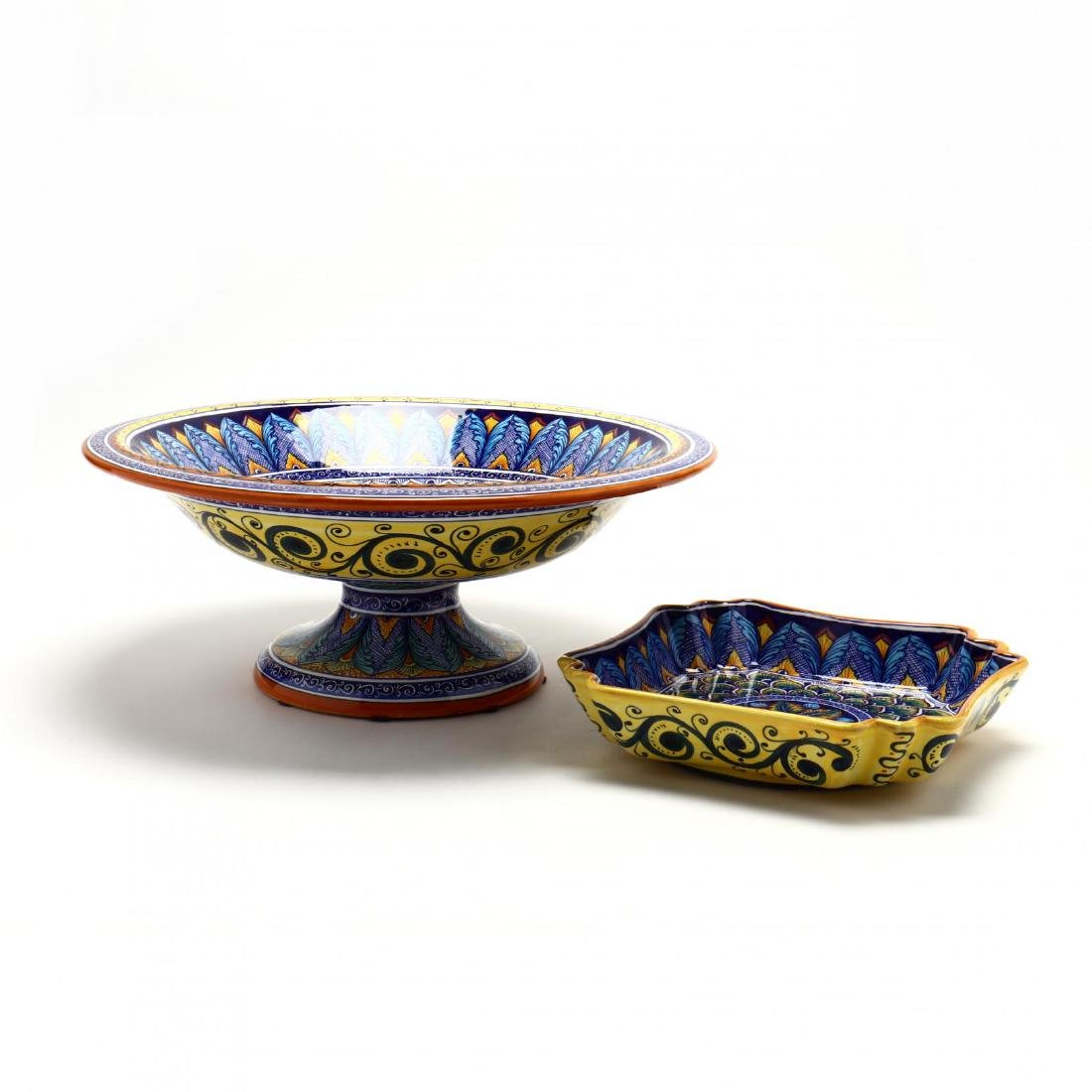 Deruta, Italy. Two Ceramic Serving Pieces