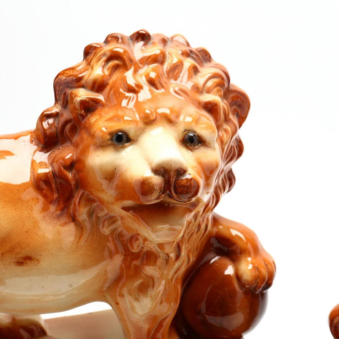 Pair of Staffordshire Lions - 3