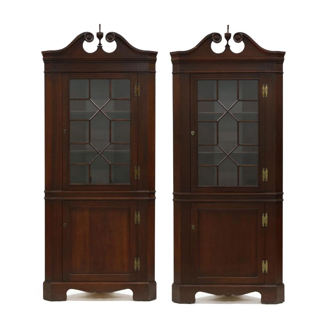 Pair of Federal Style Mahogany Corner Cabinets