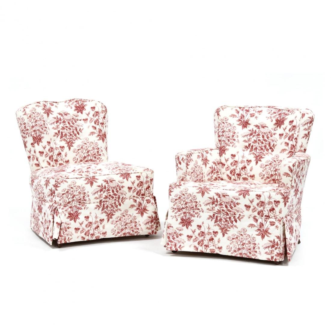 Two Vintage Over Upholstered Chairs