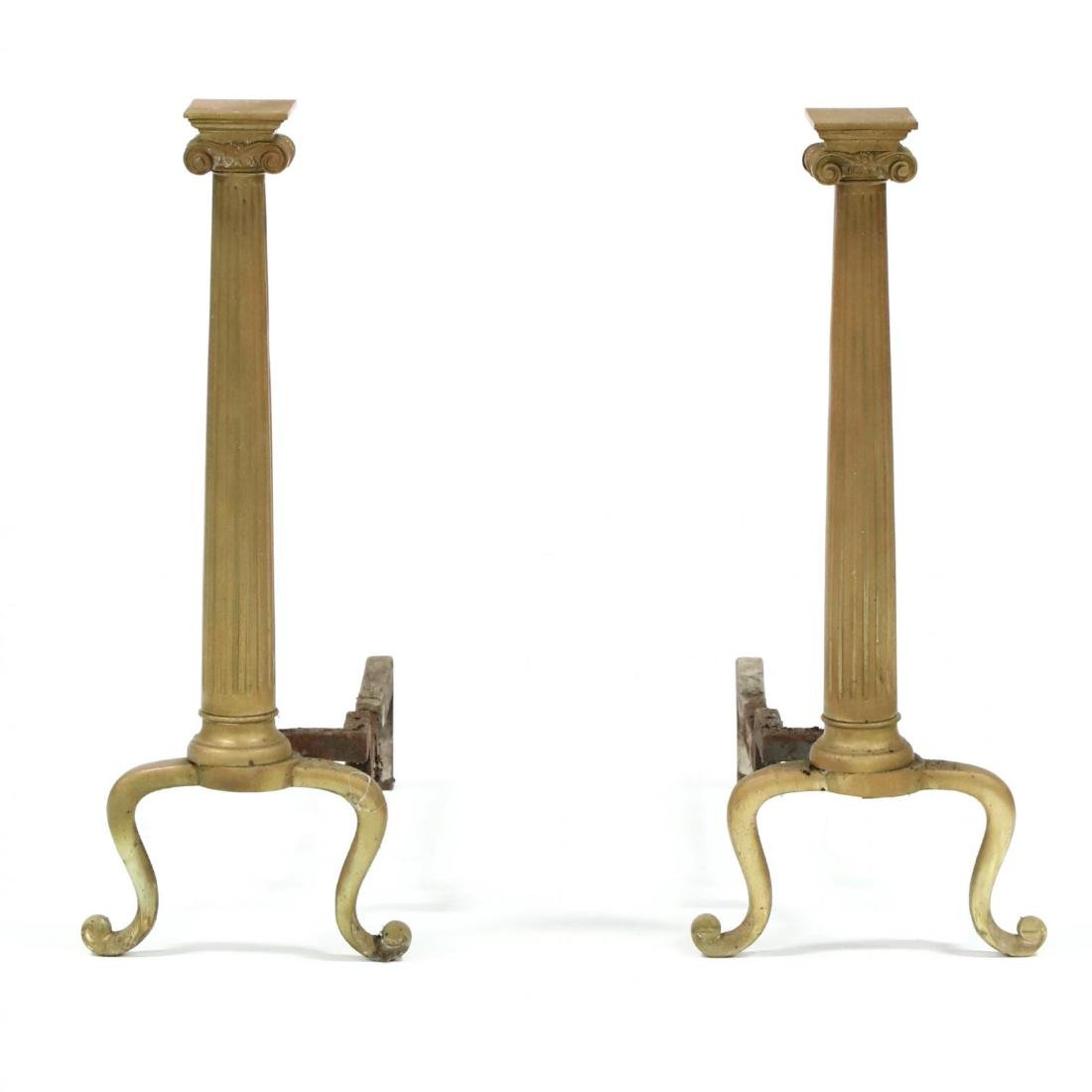 Pair of Ionic Form Brass Andirons