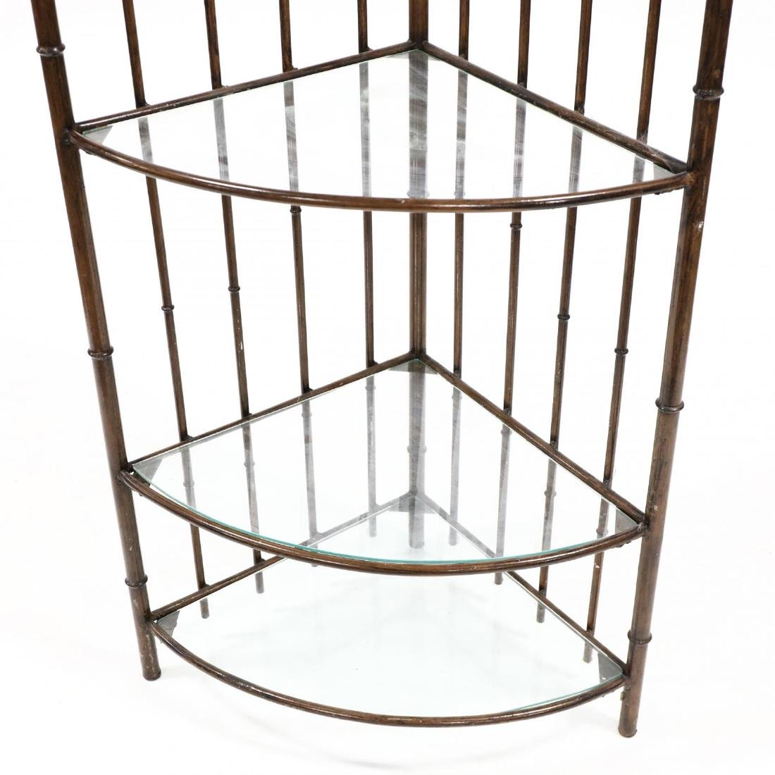 Faux Bamboo Corner Etagere - 2
