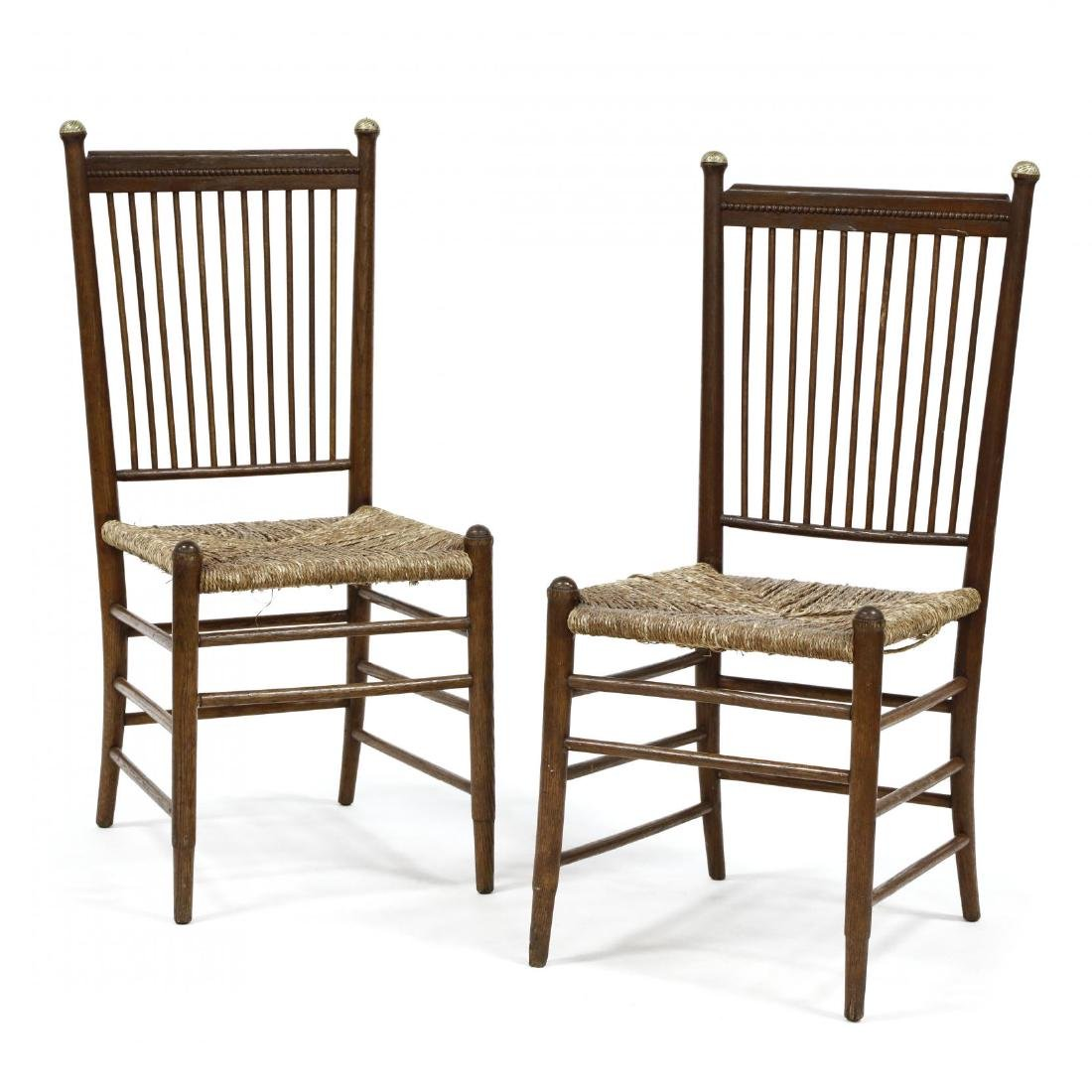Pair of Antique Oak Spindle Back Chairs