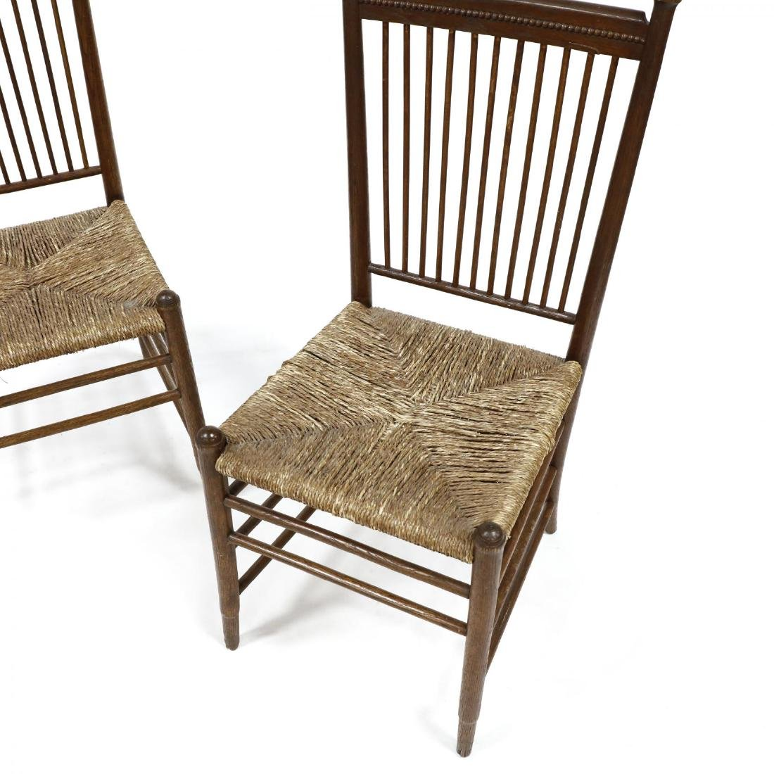 Pair of Antique Oak Spindle Back Chairs - 2
