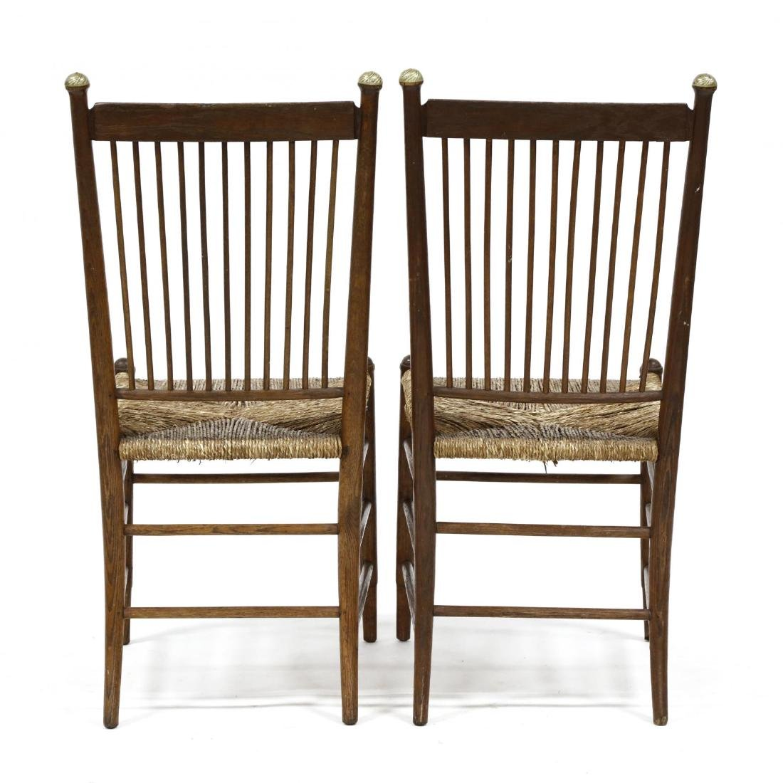 Pair of Antique Oak Spindle Back Chairs - 4