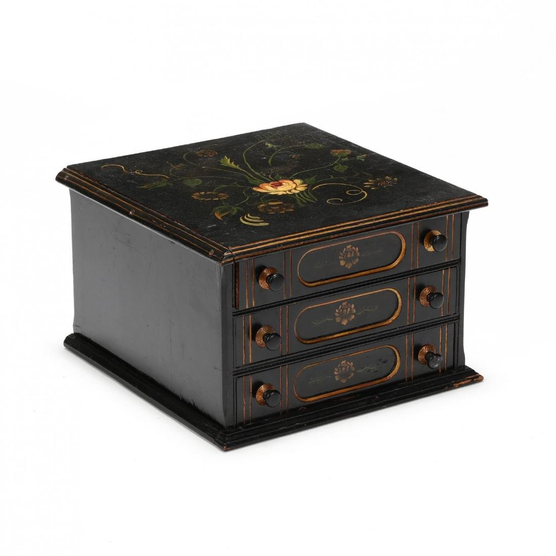 Antique Stenciled Spool Cabinet