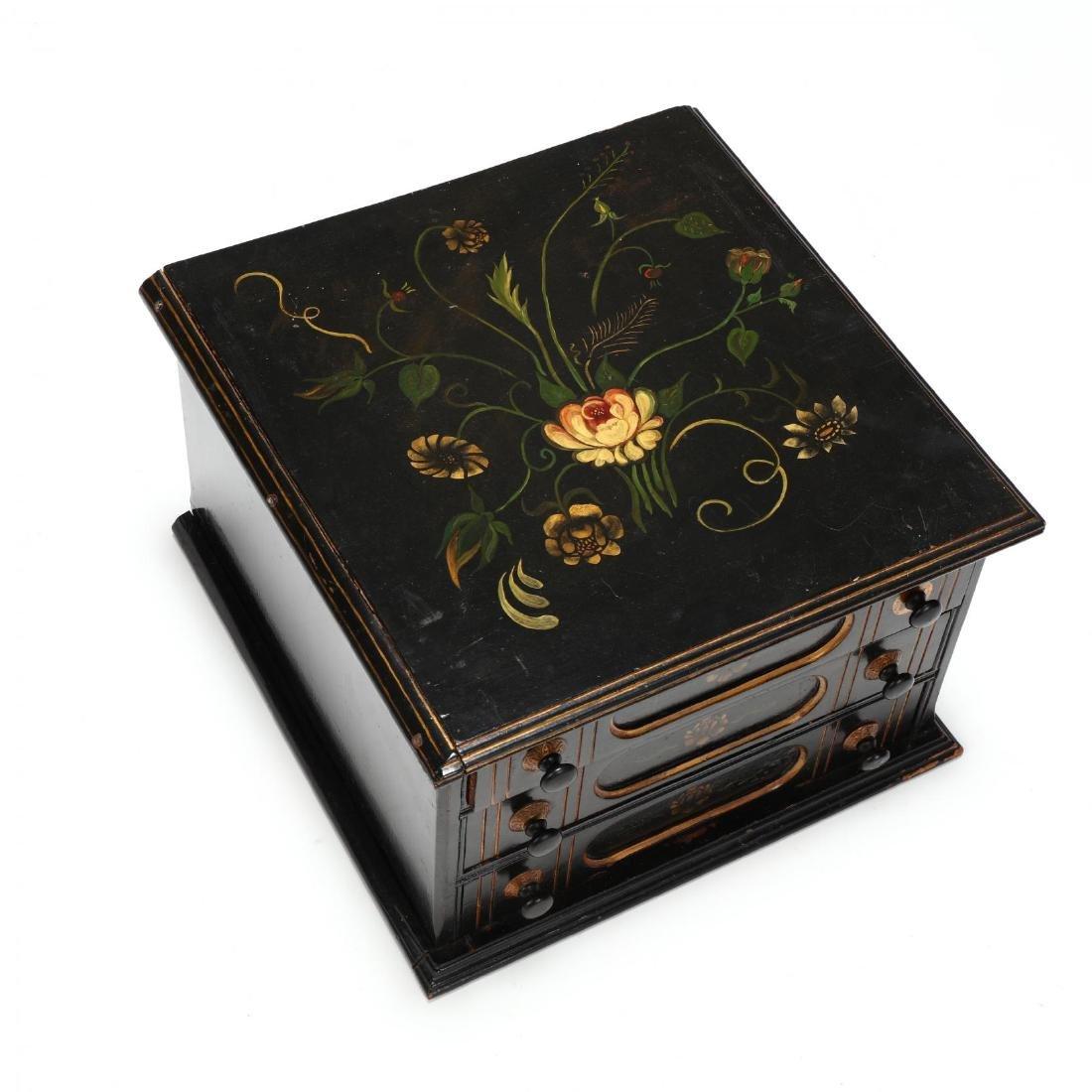 Antique Stenciled Spool Cabinet - 2
