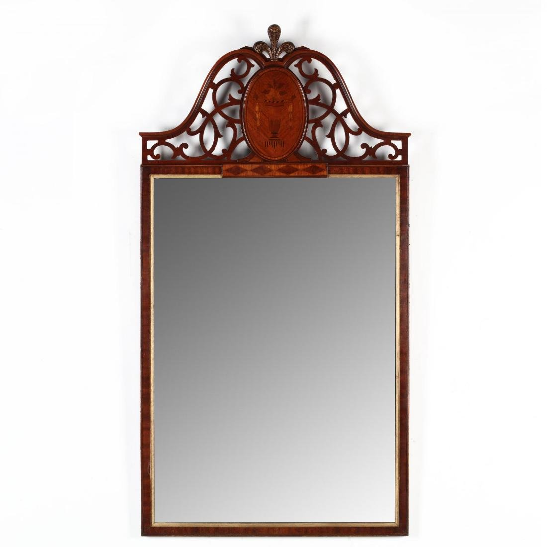 A Vintage Inlaid Mahogany Wall Mirror