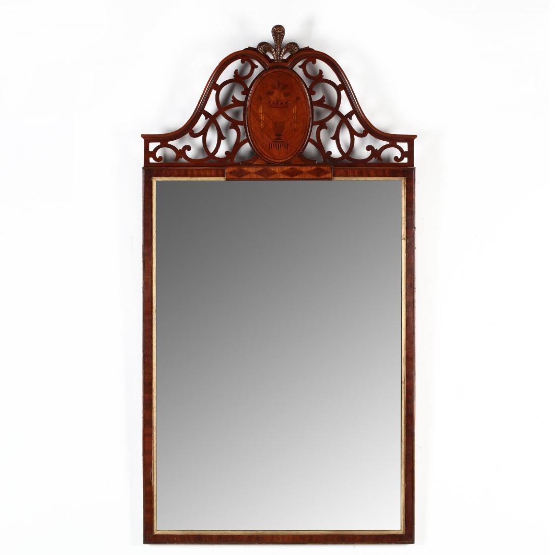 A Vintage Inlaid Mahogany Wall Mirror