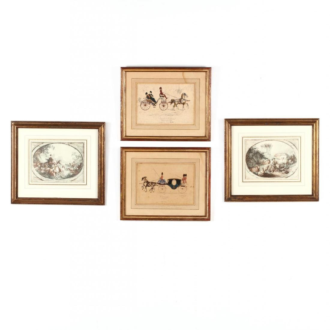 Two Pairs of Framed French Prints