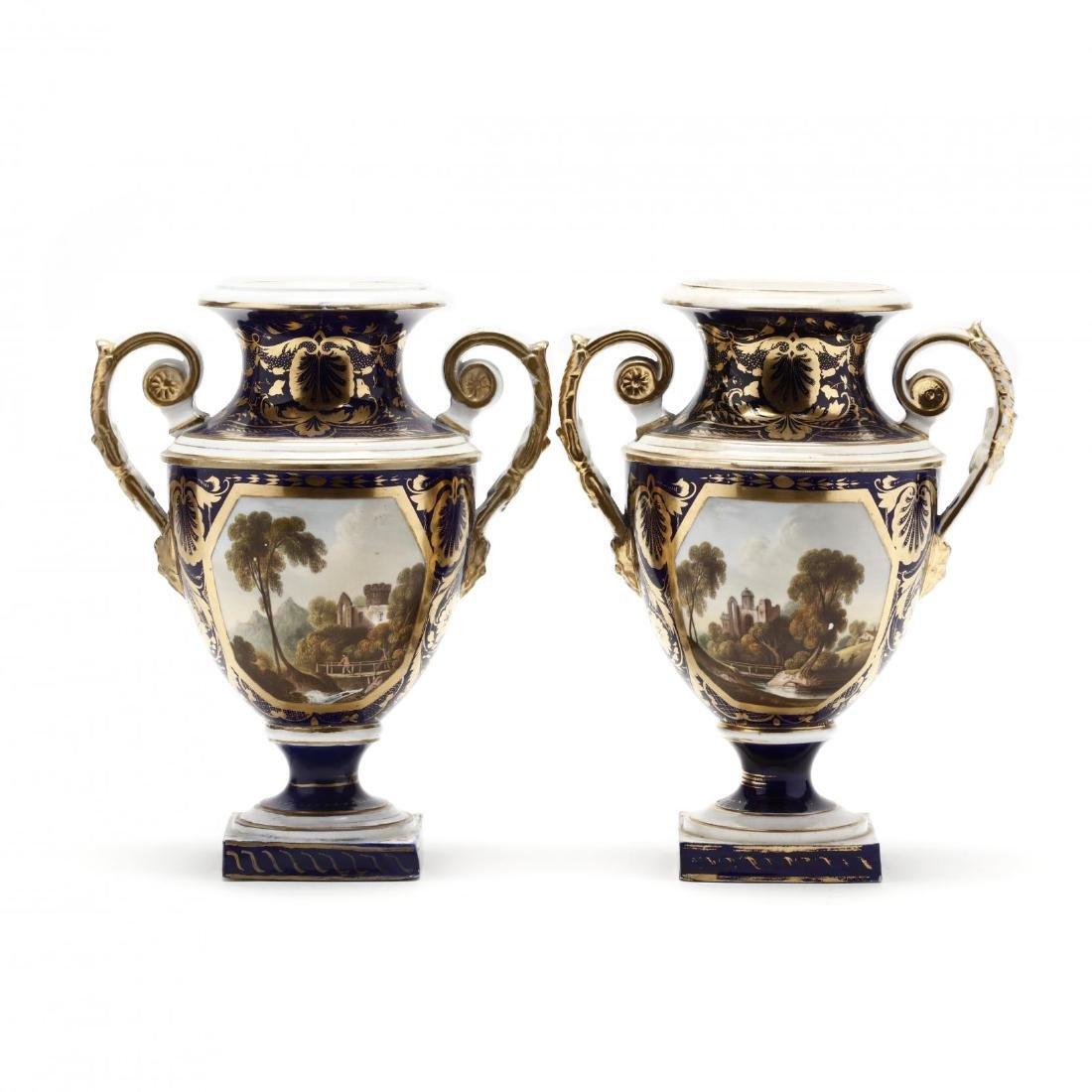 Bloor Derby, Pair of Mantle Urns