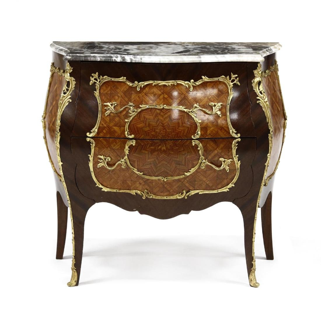 Louis XV Style Marble Top Parquetry Inlaid Commode