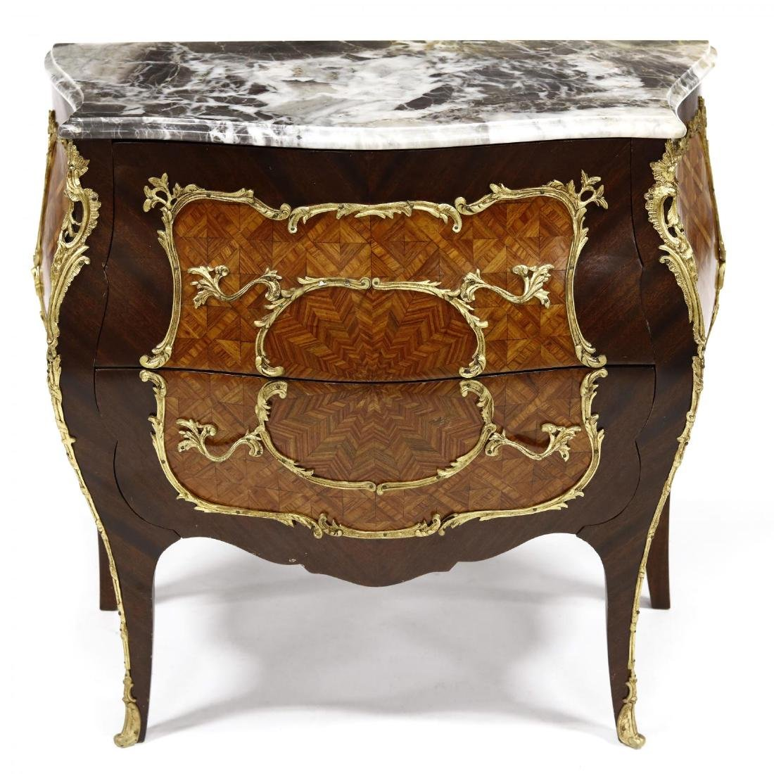 Louis XV Style Marble Top Parquetry Inlaid Commode - 2