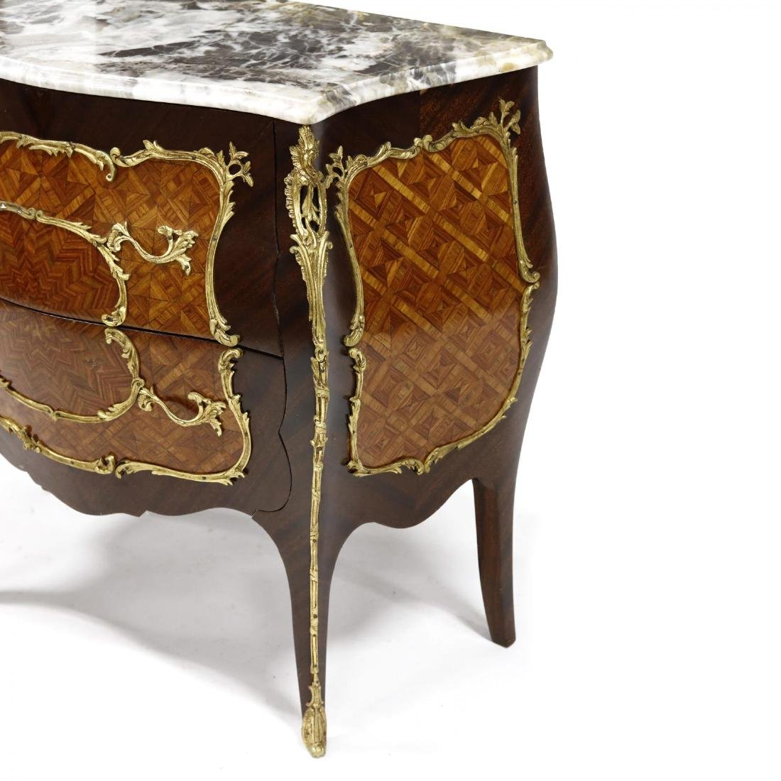 Louis XV Style Marble Top Parquetry Inlaid Commode - 3