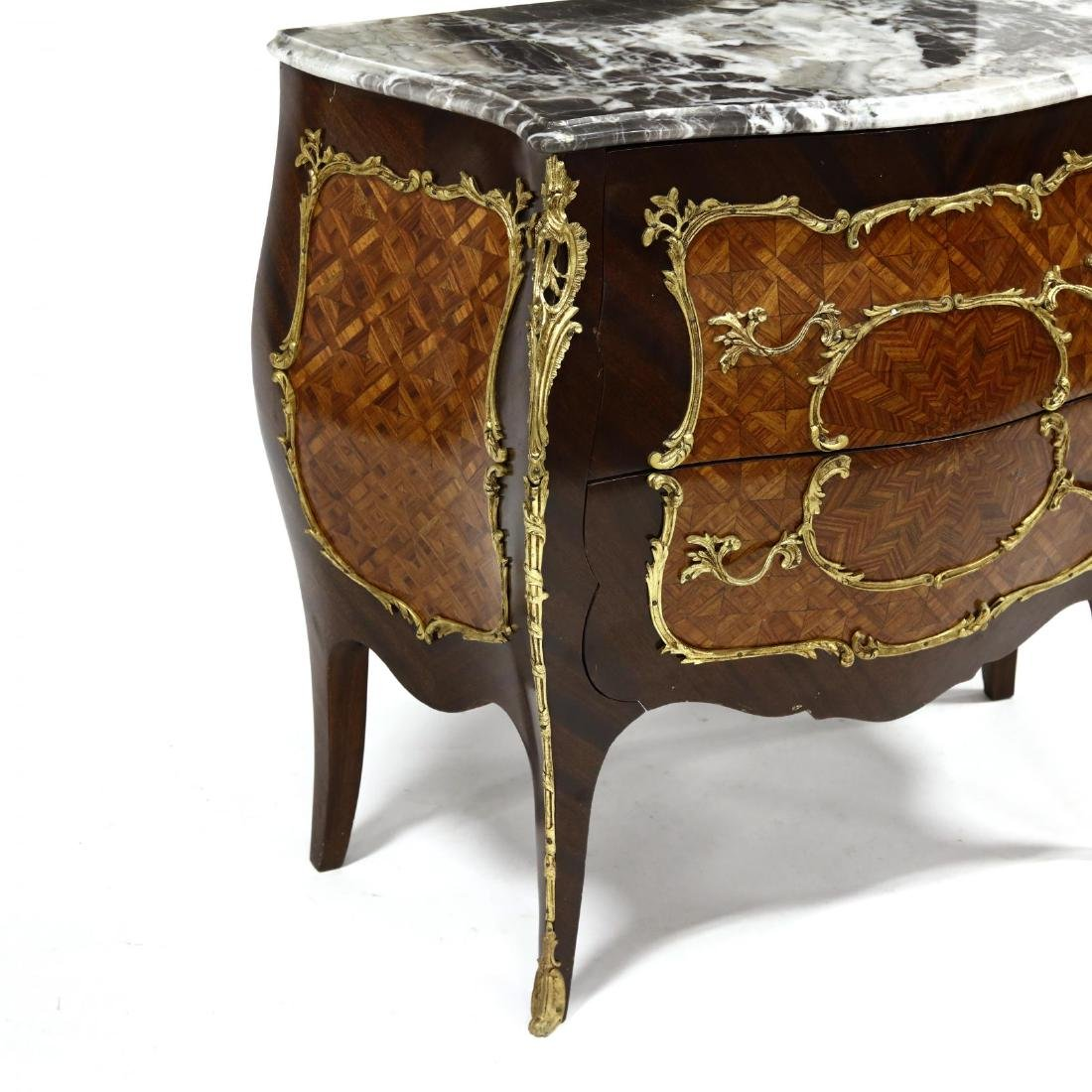 Louis XV Style Marble Top Parquetry Inlaid Commode - 4