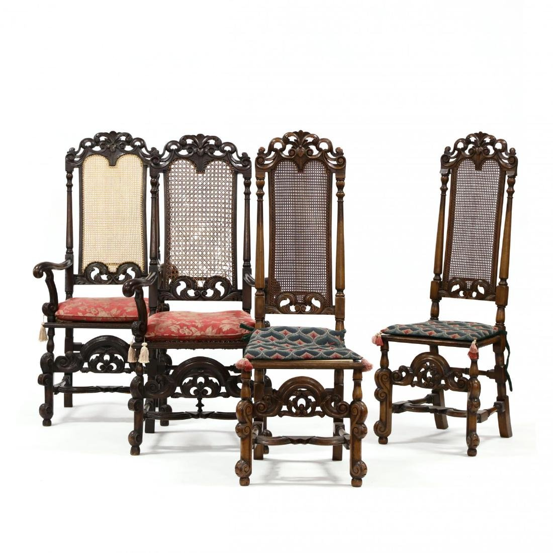 Set of Four Spanish Style Carved Walnut Hall Chairs