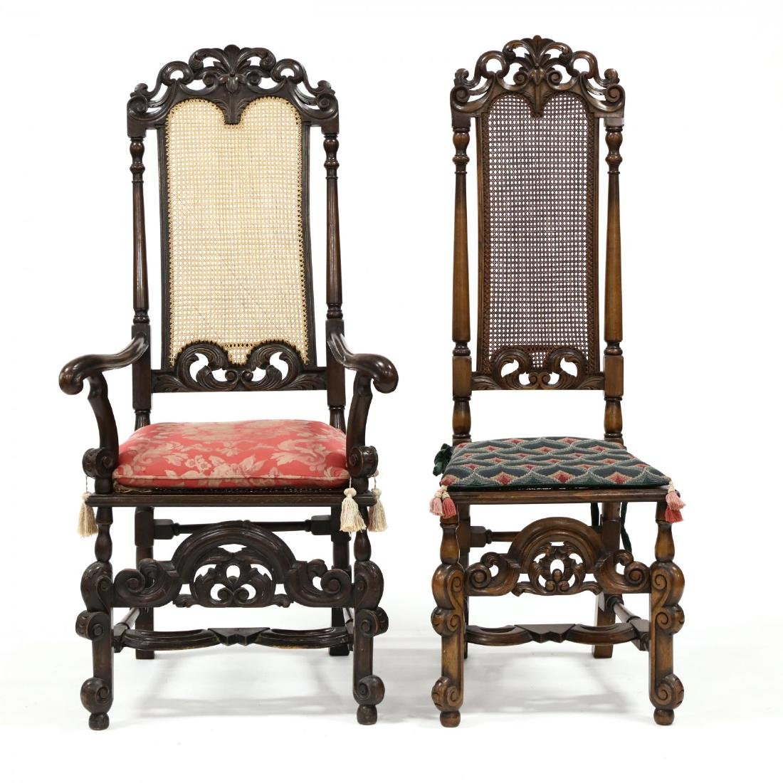 Set of Four Spanish Style Carved Walnut Hall Chairs - 2
