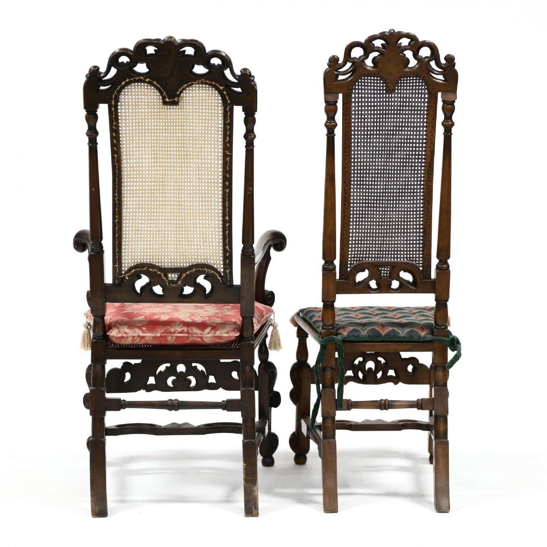 Set of Four Spanish Style Carved Walnut Hall Chairs - 3