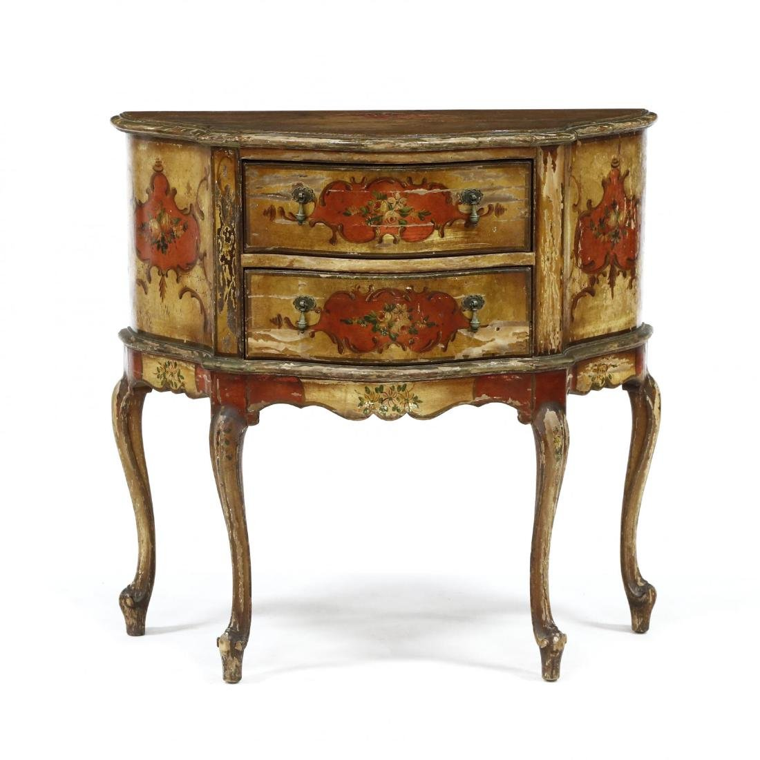 Italian Paint Decorated Diminutive Commode
