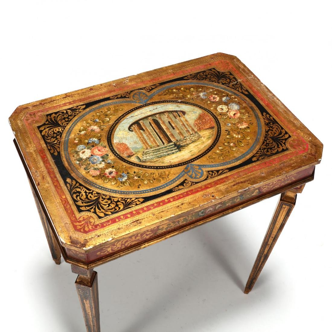 Vintage Florentine Painted and Gilt Table - 2