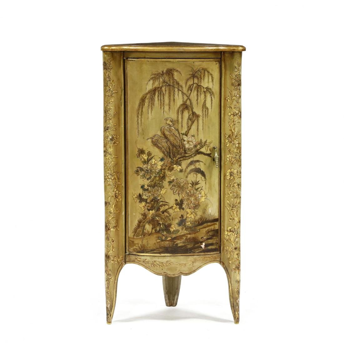 Chinoiserie Decorated Diminutive Corner Cabinet