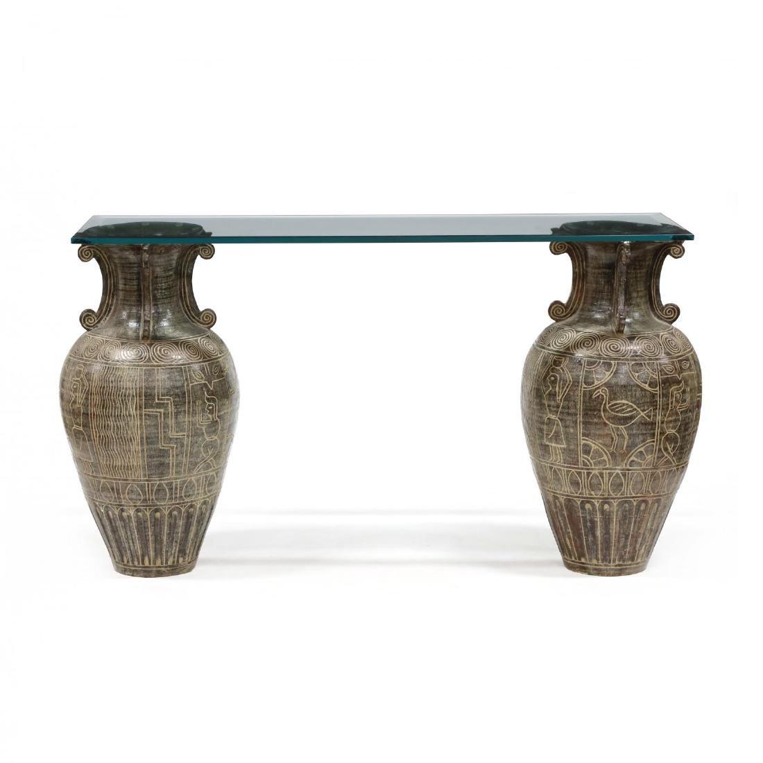 Egyptian Motif Double Pedestal Console Table