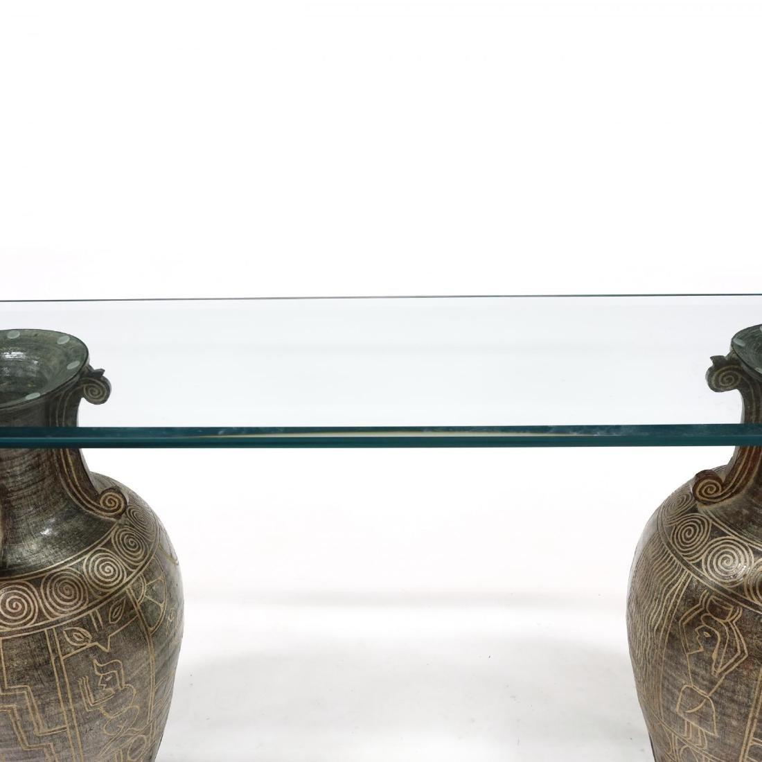 Egyptian Motif Double Pedestal Console Table - 2