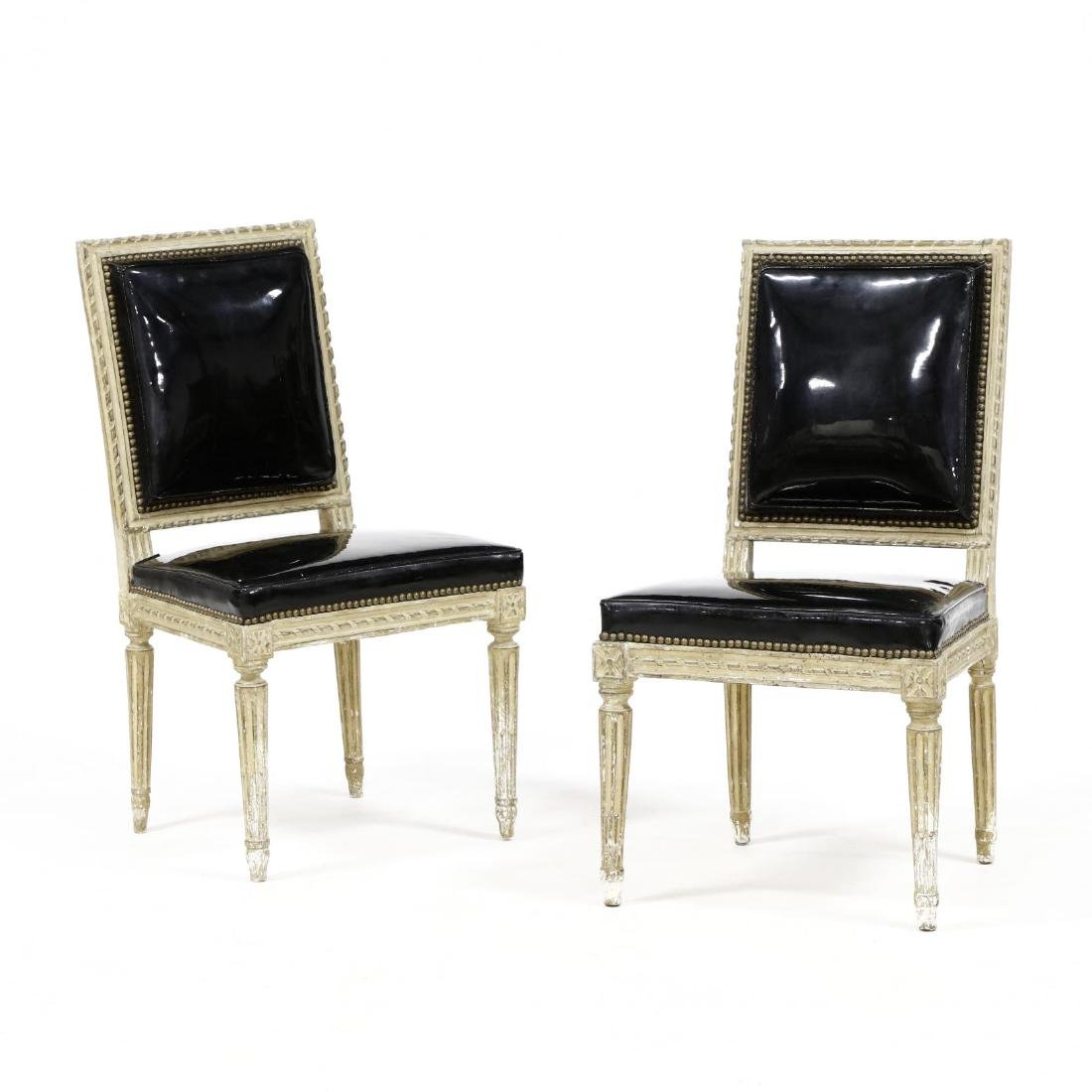 Pair of Louis XVI Style Carved and Painted Side Chairs