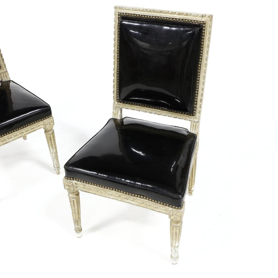 Pair of Louis XVI Style Carved and Painted Side Chairs - 2