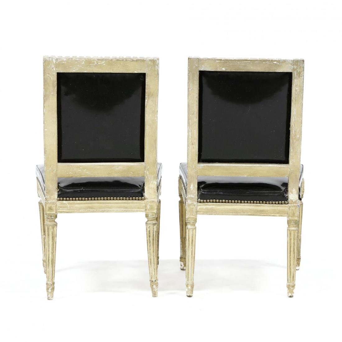 Pair of Louis XVI Style Carved and Painted Side Chairs - 4