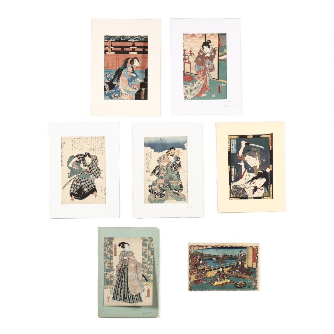 A Group of Seven Woodblock Prints by Utagawa Kunisada