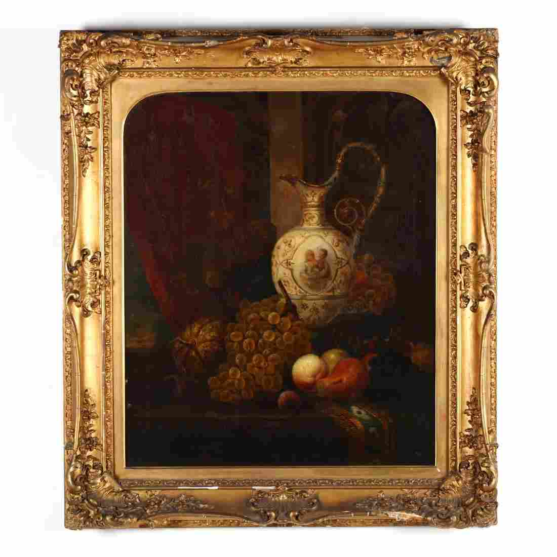 A Large Victorian Still Life Painting of Fruit with
