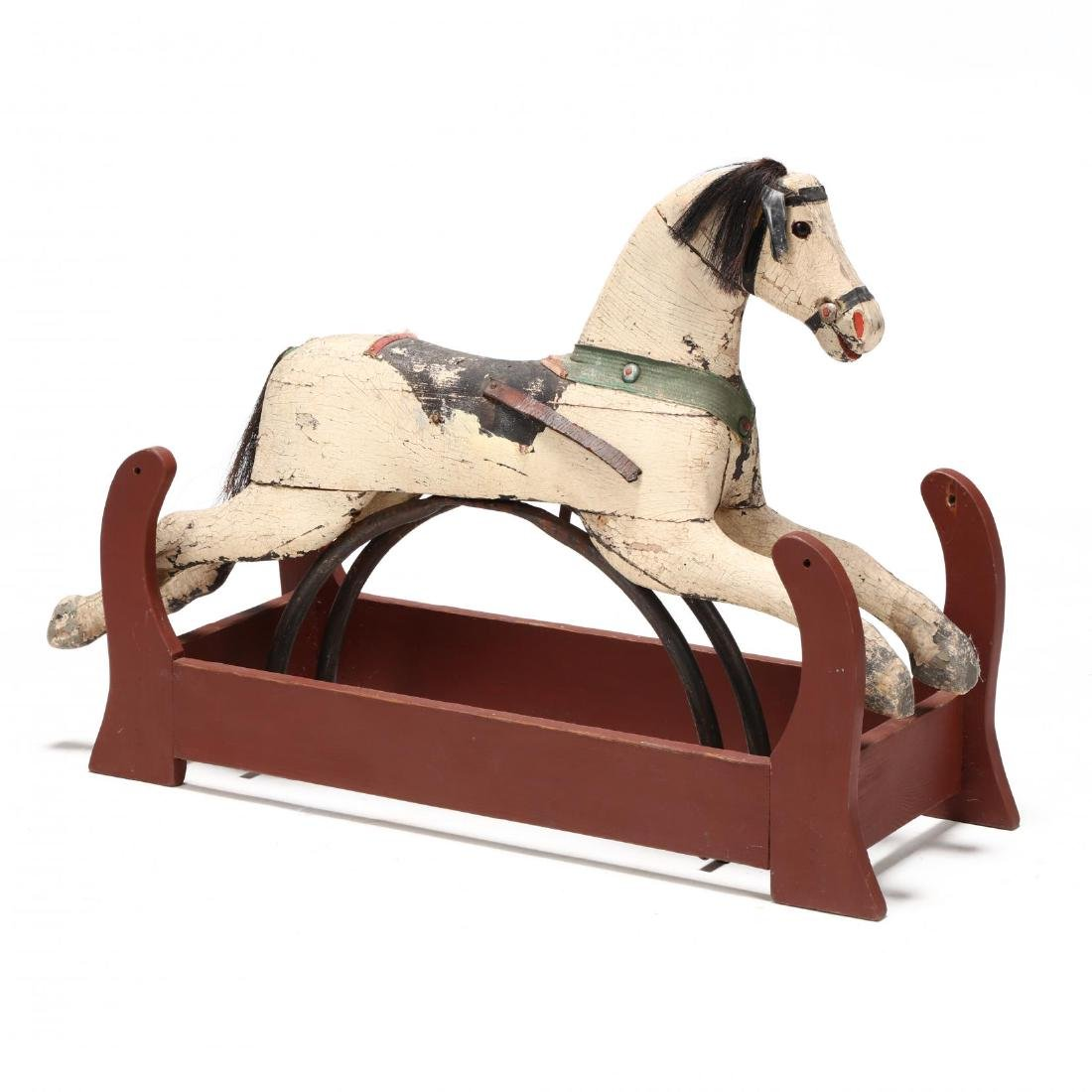 Vintage Carved and Painted Rocking Horse on Frame