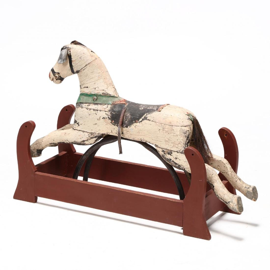 Vintage Carved and Painted Rocking Horse on Frame - 2
