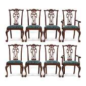 Ethan Allen, Set of Eight Chippendale Style Mahogany
