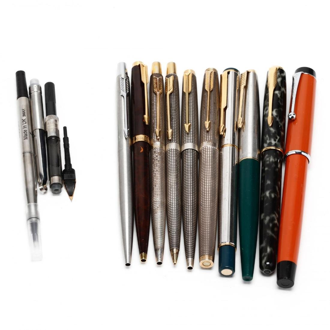 Ten Parker Writing Implements With Accessories