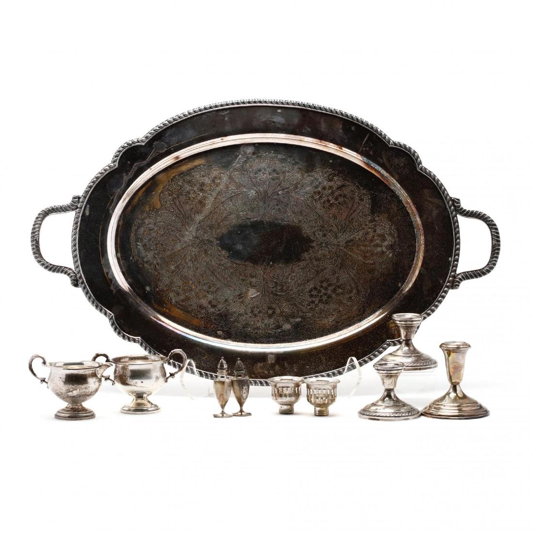 A Silverplate Tray with Sterling Silver Holloware