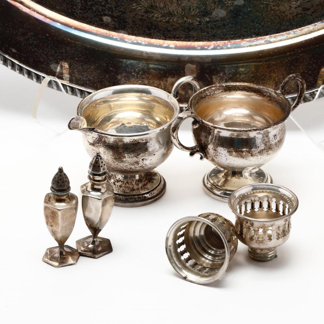 A Silverplate Tray with Sterling Silver Holloware - 2