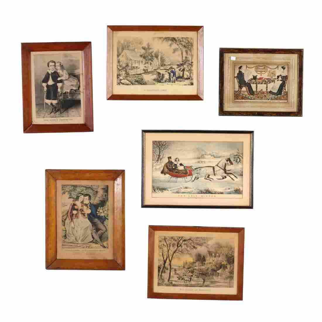 Six Vintage Prints, Primarily Currier & Ives