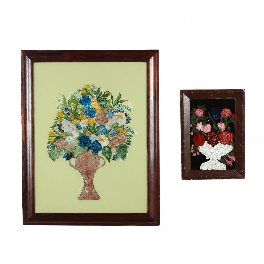 Two Antique American Folk Art Tinsel Paintings.