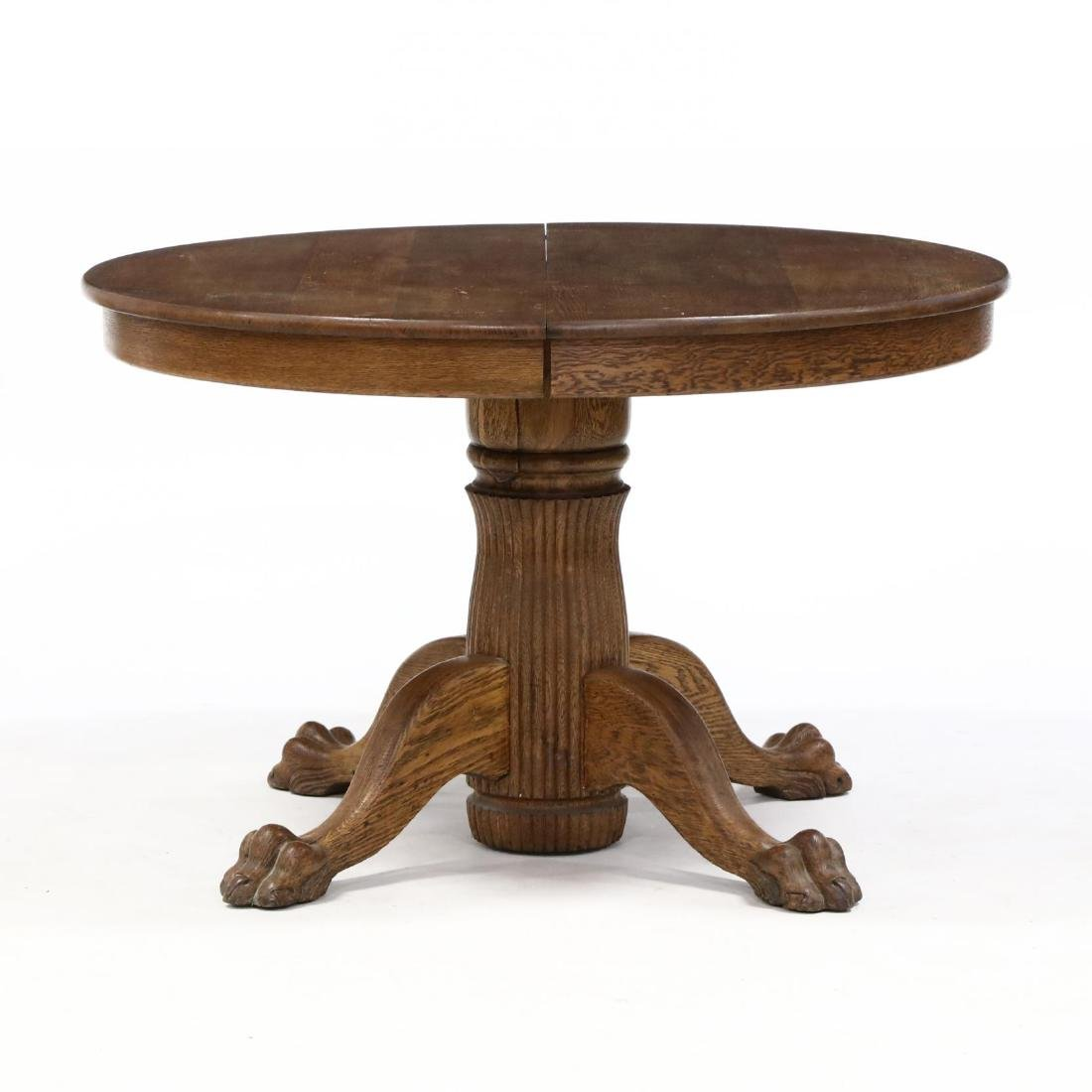 Classical Style Carved Oak Pedestal Table