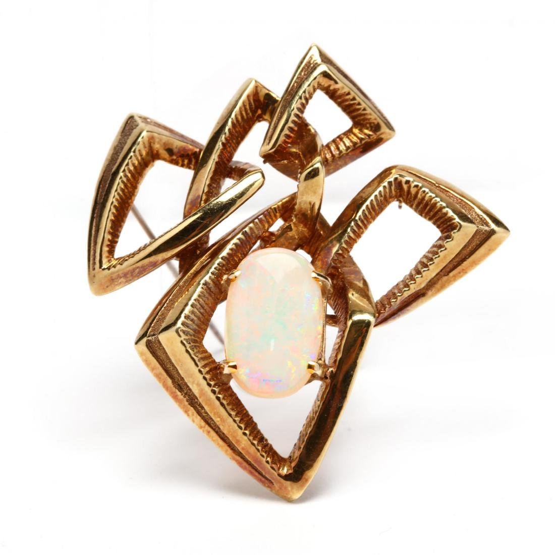 18KT Gold and Opal Brooch, signed