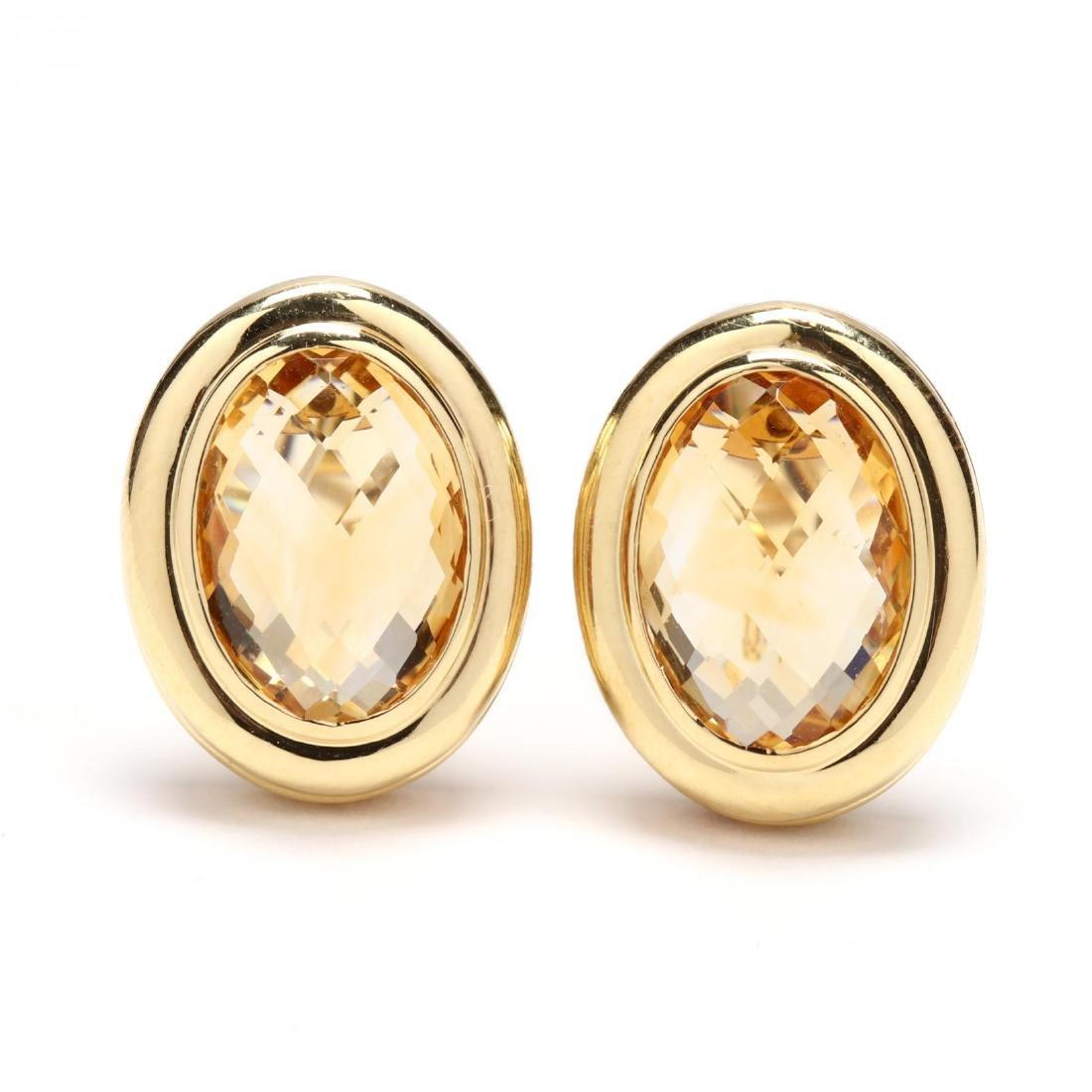 18KT Gold and Citrine Earrings, David Yurman