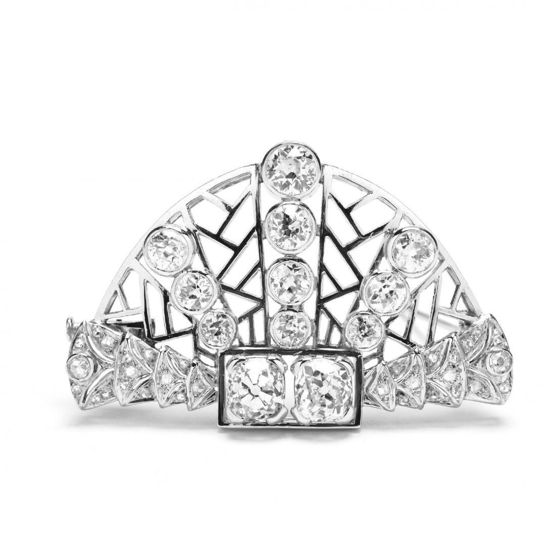 Antique Platinum and Diamond Brooch, Janesich - 3